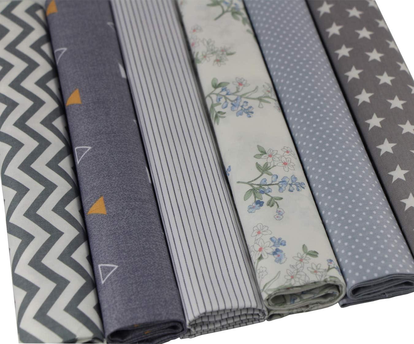 Aufodara 6 piezas 50 x 50 cm tela patchwork algod/ón Craft material mixto cuadrados Bundle costura costura colcha DIY hecho a mano tela gris