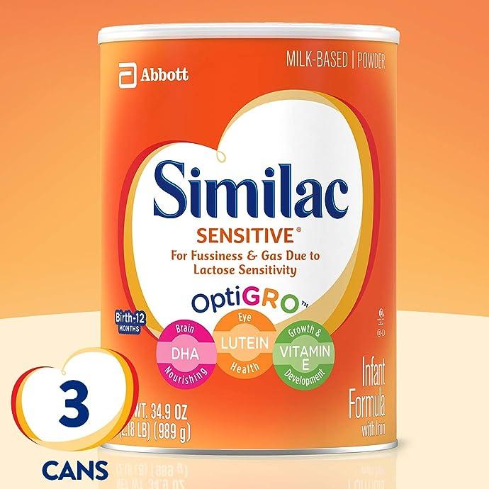 Abbott 雅培 Similac 心美力 金盾一段 Sensitive 低敏防胀气奶粉 989g*3罐 镇店之宝¥497