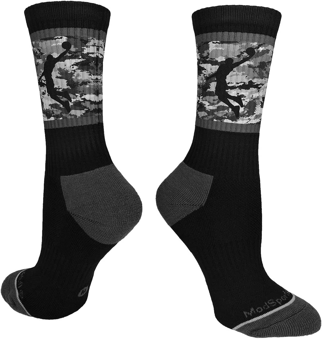 MadSportsStuff Basketball Socks with Player on Camo Athletic Crew Socks (Multiple Colors)