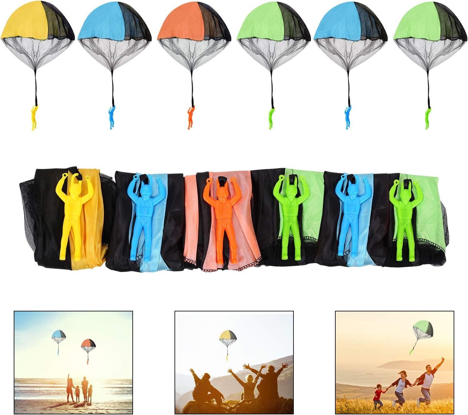 Ulikey 6 Piezas Juguete de Paracaídas, Mano Que Lanza el Juguete del Paracaidista, Paracaidista de Juguetes con Grandes Paracaídas al Aire Libre Los Niños Vuelan