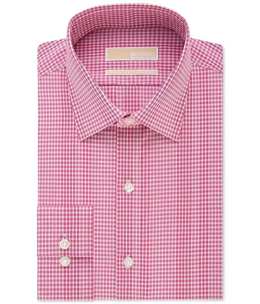 Michael Kors Mens Classic Non Iron Gingham Button Up Dress Shirt