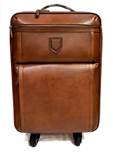 45f6ef77389a Amazon.com  Leather trolley travel bag weekender overnight leather bag with wheels  brown leather cabin luggage airplane carryon brown leather bag  Handmade