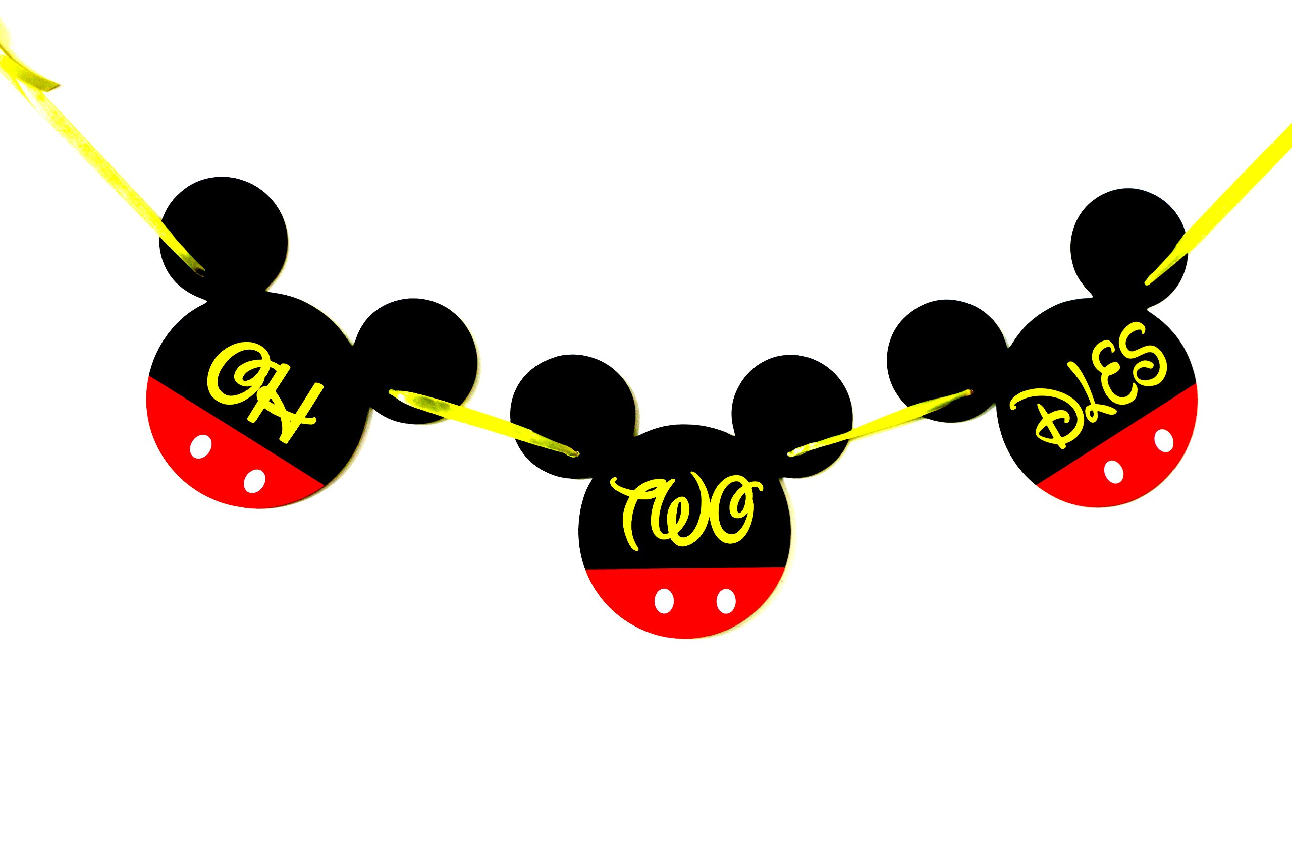 OH TWO DLES Mickey Mouse Birthday Banner