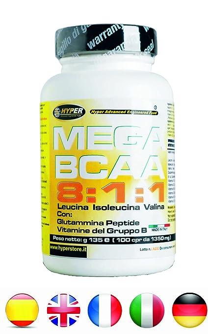 BCAA 8: 1: 1 Aminoácidos ramificados 400 tabletas 540 gr mejorado con Péptido de