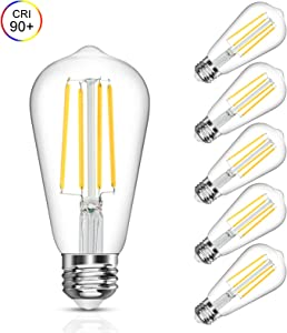 Vintage LED Edison Bulb, 6W, Equivalent 60W, Daylight White 4000k, Non-Dimmable Led Filament Light Bulb, E26 Base, High CRI 90 Led Bulb, Clear Glass for Bathroom Kitchen Dining Room, Pack of 5