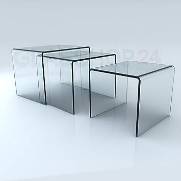 Glastisch 3er Set Bth 60x44x45 52x44x41 40x44x37cm In