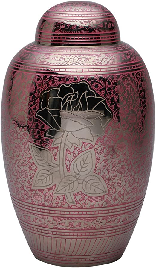 Rose Wood Adult Urn for Human Ashes Large Cremation Memorial