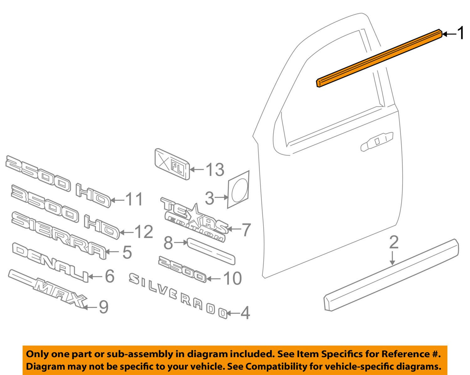 Genuine GM 20921215 Window Sealing Strip, Right, Outer, Front