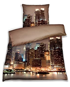 New York Bettwäsche Mako Satin Art At Night 140x200 70x90 Amazon