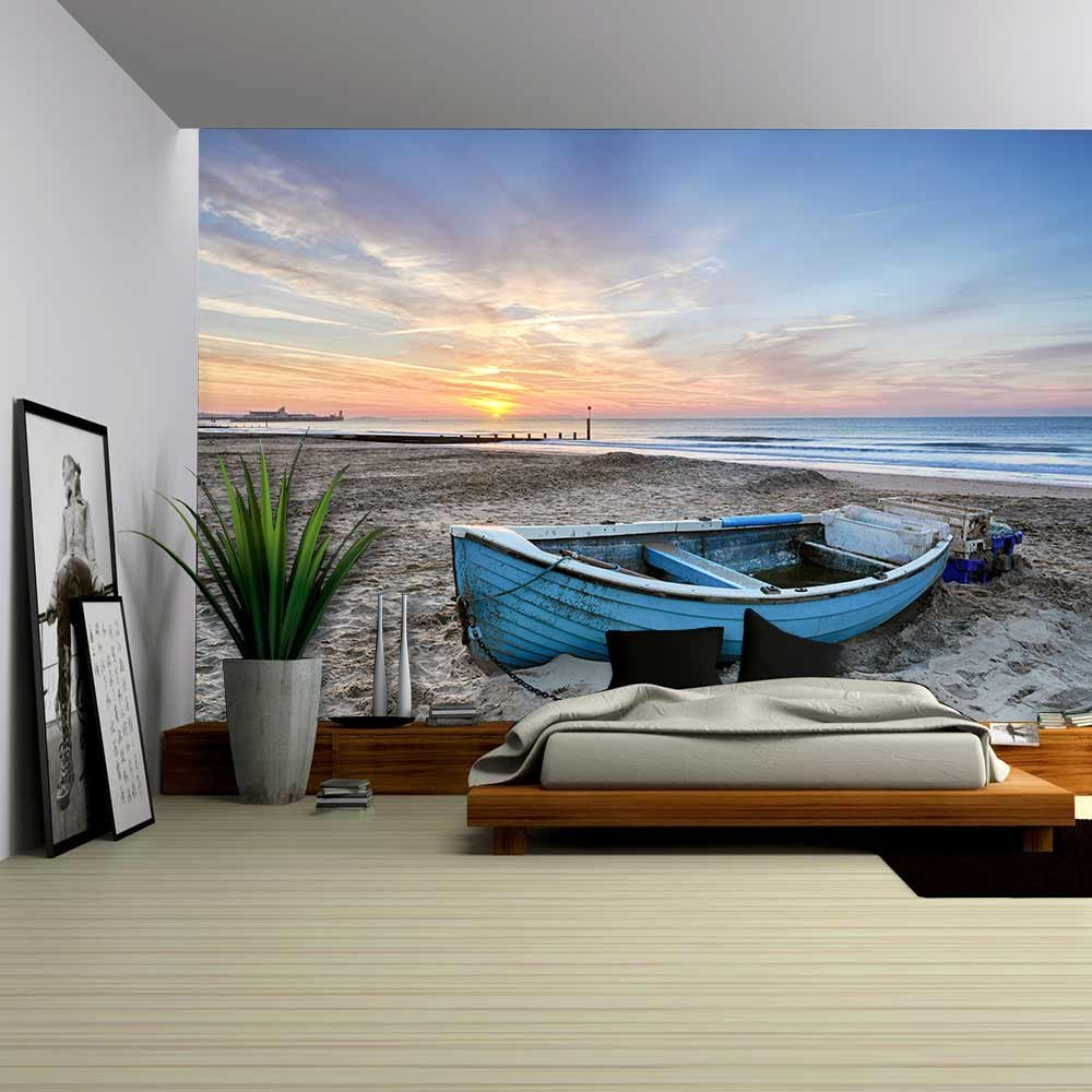 Turquoise Blue Fishing Boat at Sunrise on Bournemouth Beach with