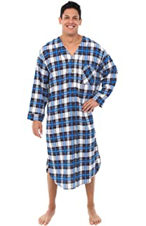 Ashford   Brooks Mens Flannel Plaid Long Sleep Shirt Henley ... d2d2b056e