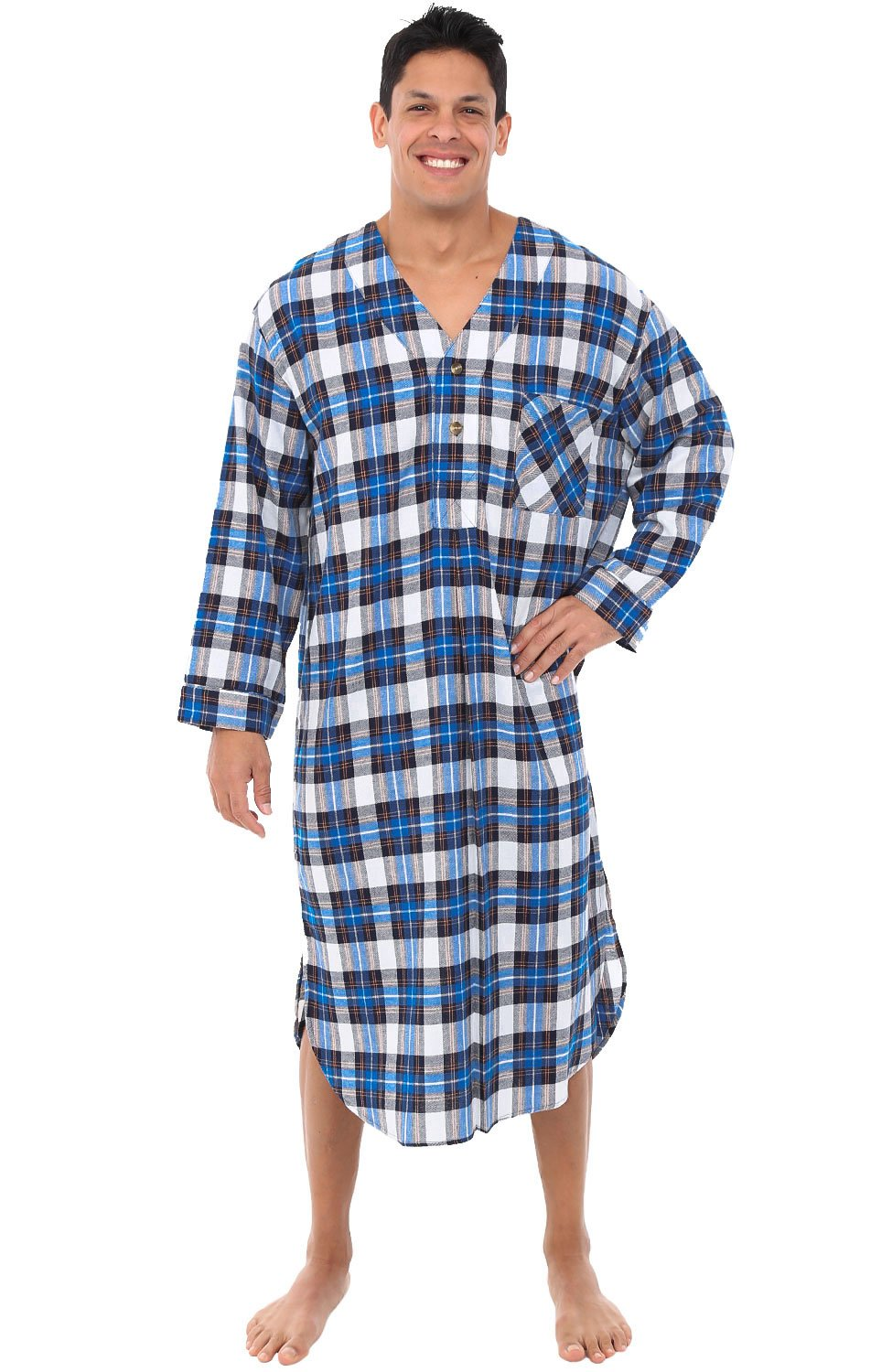 Alexander Del Rossa Mens Flannel Nightshirt, Long Lightweight Cotton Kaftan A0548T43SM