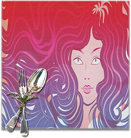Amazon Com Judascepeda Placemats Modern Graphic Little Mermaid Face And Wavy Hair Vibrant Colors Fantasy Woman Artwork Red Violet Cream Table Mat For Kitchen Table 12 X 12 In Set Of 6 Home