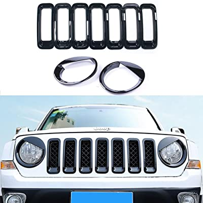 AVOMAR Front Grille Grill Mesh Grille Insert Kit + Angry Bird Style Headlight Lamp Cover Trim For Jeep Patriot 2011-2016 (Black Front Grill Mesh + Angry Bird Headlight Cover-3): Automotive
