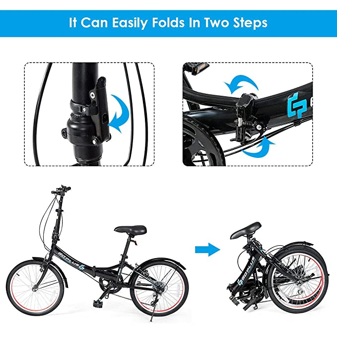 Amazon.com: Goplus 20 Folding Bike, 7 Speed Shimano Gears ...