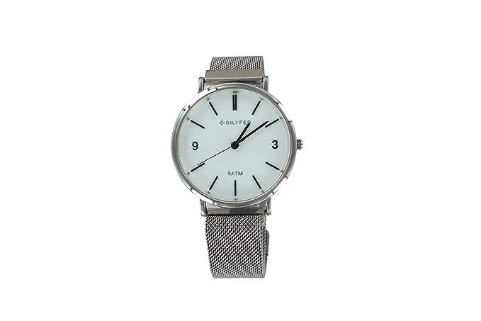 Reloj Bilyfer para Mujer con Correa Plateado y Pantalla en Blanco 1F620C-N: Amazon.es: Relojes