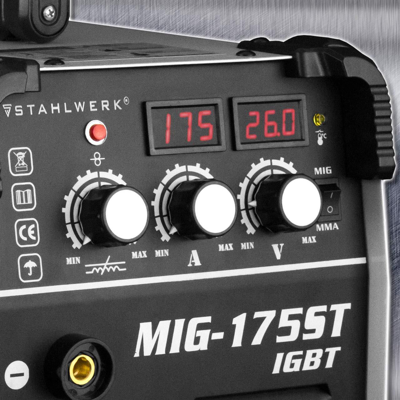 STAHLWERK MIG 175 ST IGBT - Equipo de soldadura de gas de protección MIG MAG con 175 amperios, alambre de relleno FLUX, con MMA E-Hand, color blanco: ...