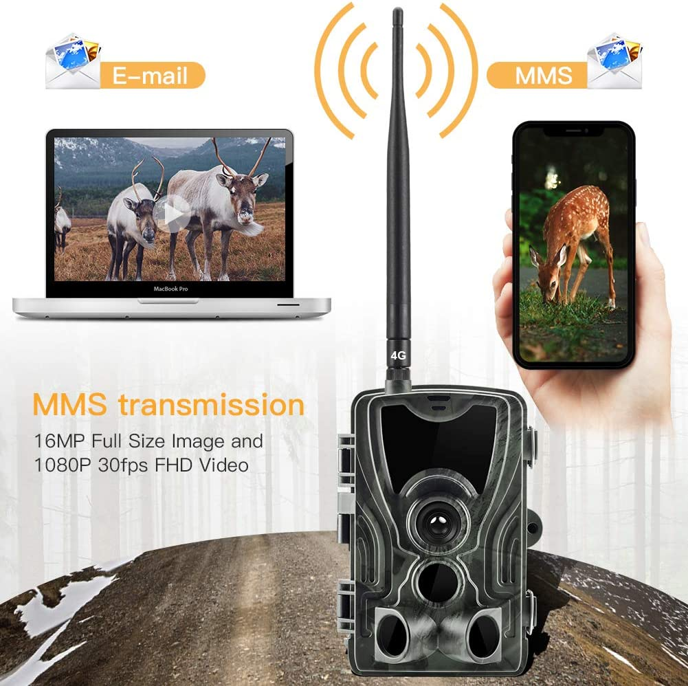 20MP Jagdkamera Wildkamera 1080P Infraro Nachtsicht 4G HC-801LTE IP65 Fotofalle