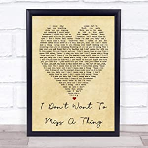 I Don't Want to Miss A Thing Vintage Heart Quote Song Lyric Print