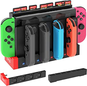 FastSnail Charger Compatible with Nintendo Switch Joy-con, Charging Dock Stand Station Base and Game Card Storage Holder with 28 Game Card Slots Compatible with Switch