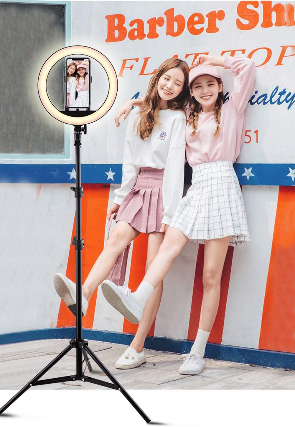 Ldab Ring Light 10 Inch with Phone Holder and Adjustable Stand Selfie Ring Light3 Light Modes for Makeup//YouTube Video//Photography 160cm Bracket
