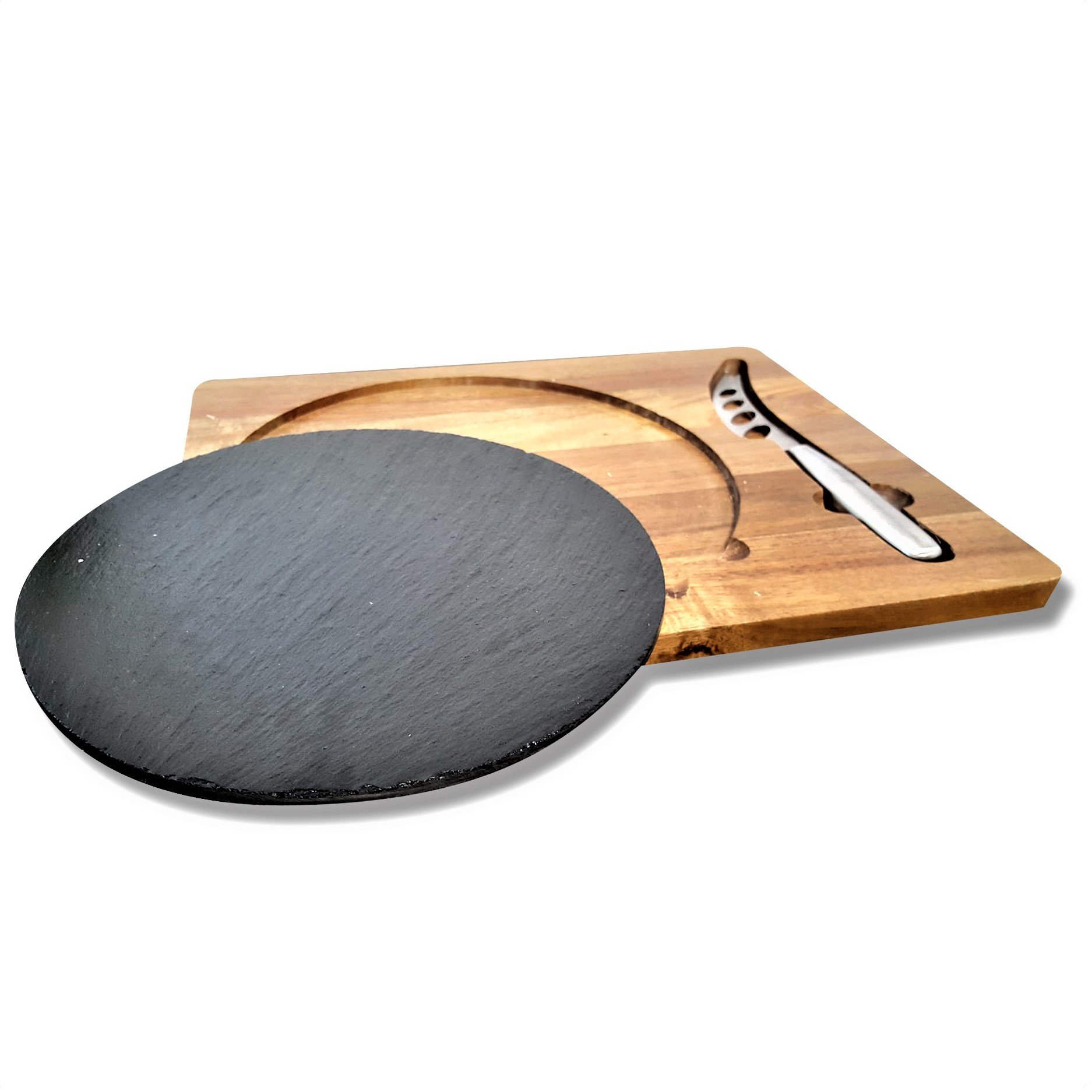 Cheese Board and Knife Set - Slate with wooden serving board - Stainless Steel Knife - Great for Restaurant, Restaurantware, Home, Cafe
