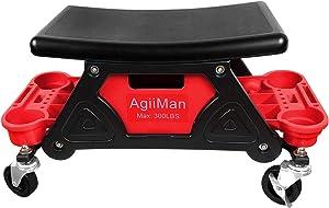 AgiiMan Mechanic Stool - Rolling Creeper Seat, Detailing Garage Roller Stool Chair, Repair Tools Tray, 2 Tool Storage Drawers Under Seat, 300 Lbs Capacity