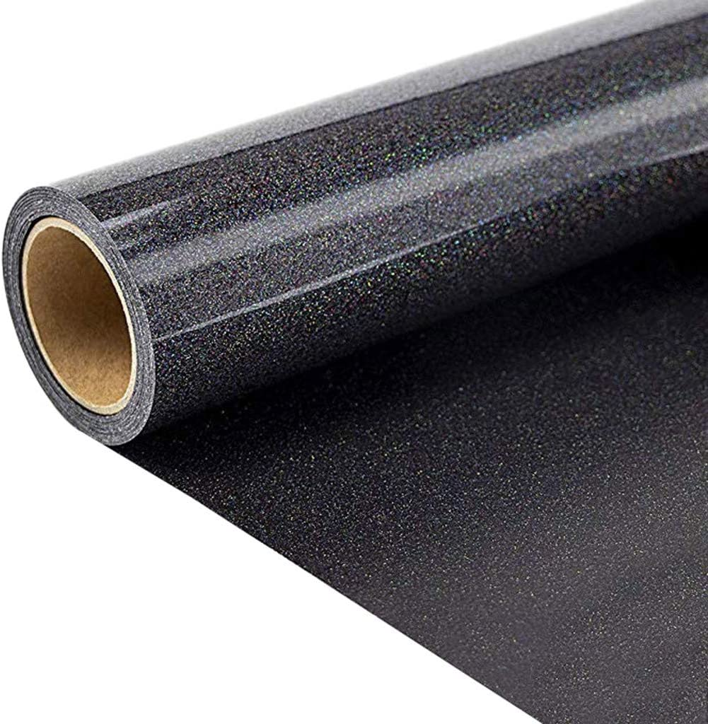 Multicolor MORECON Glitter Heat Transfer Vinyl for T-Shirts 10 Inches by 10 Feet Glitter Roll