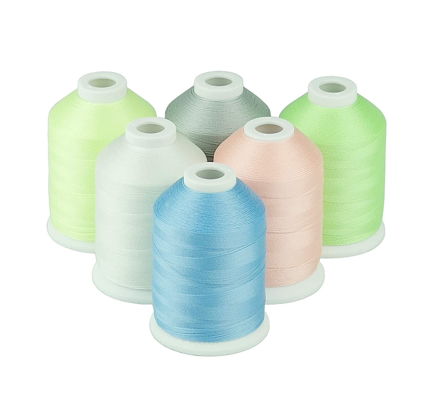 550Y Simthread Embroidery Machine Thread 6 Colors Glow in The Dark Thread