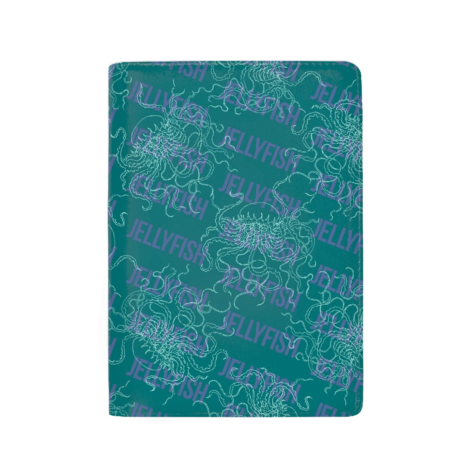 Blue Pattern With Jellyfishes Passport Holder Cover Wallet RFID Blocking Leather Card Case Travel Document Organizer