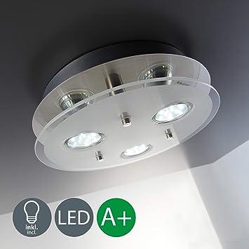Lámpara de techo I Lámpara LED de techo de cristal I 3 bombillas de 3 W ...