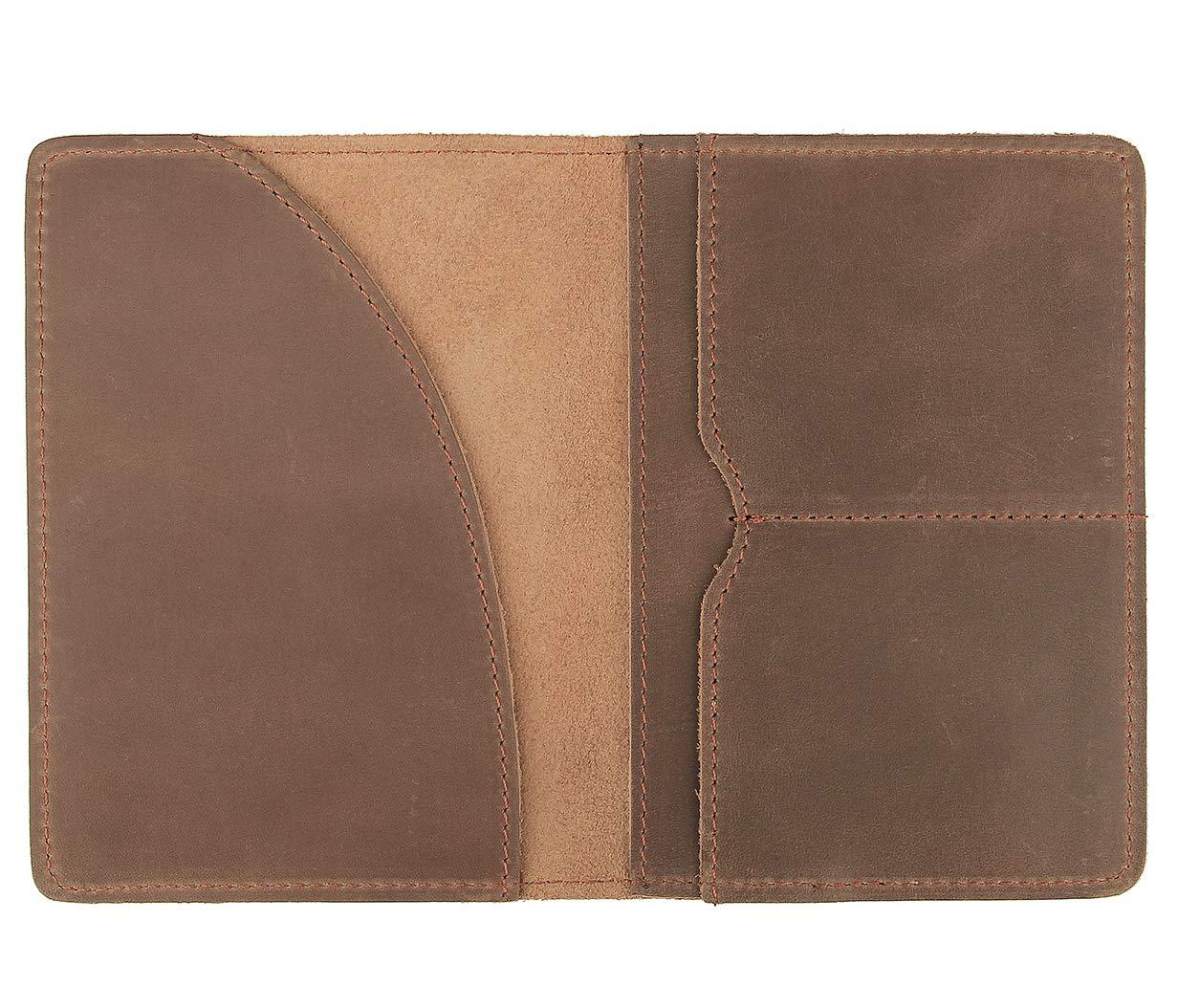 Polare Men's Slim Full Grain Leather Passport Card Holder Travel Wallet