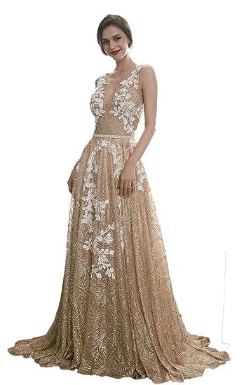 Ruolai Deep V Neckline V Back Gold Evening Dress Special Glitter