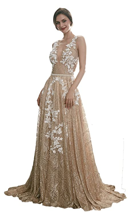 Ruolai Deep V Neckline V Back Gold Evening Dress Special Glitter Prom Dress at Amazon Womens Clothing store:
