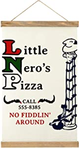 Little Neros Pizza Home Alone Canvas hanging picture personalized custom hanging poster wooden frame, 20.5 inches x 13 inches for bedroom hanging