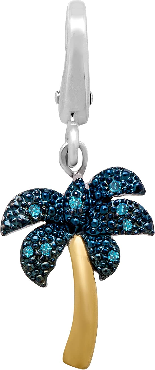 Palm Tree Charm with Blue Diamonds in Sterling Silver /& 14K Gold