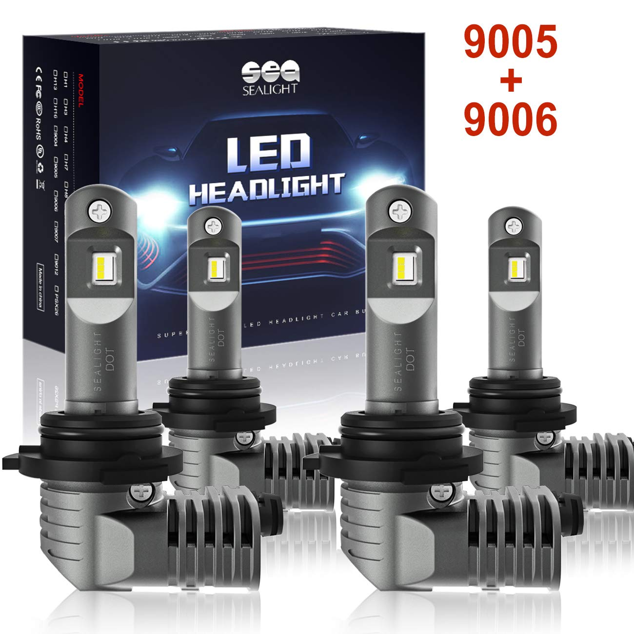 9005/HB3 9006/HB4 LED Headlight Bulbs with Fan, SEALIGHT S2 Series Mini Design Upgraded CSP Chips 6000K Xenon white IP67-2 Year Warranty (4 Pack)