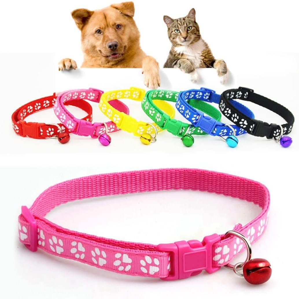 Bodhi2000 Pet Cute Paw Print Adjustable Buckle Collar with Bell for Dog Puppy Cat Kitten