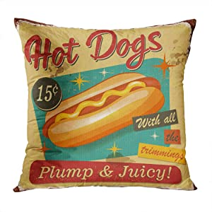Docady Throw Pillow Decor Square 18 x 18 Inch Vintage Hot Dogs Metal Sign Dog Realistic Natural Art Decorative Cushion Cover Printed Pillowcase Cover Home Sofa Living Room