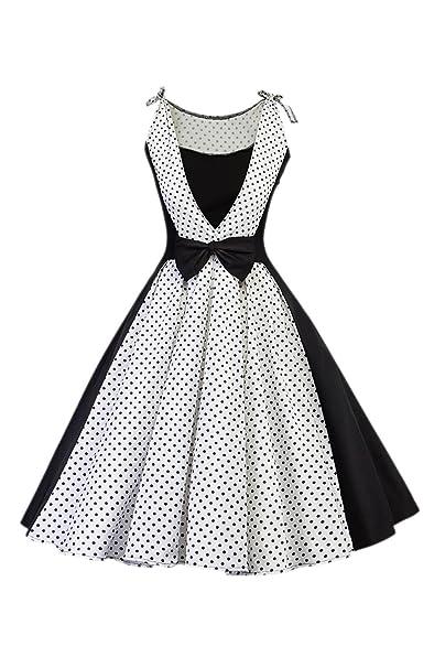 YACUN Donne Sono Vintage degli Anni  50 Hepburn Abito da Cocktail A Pois   Amazon.it  Abbigliamento f84e38d2127