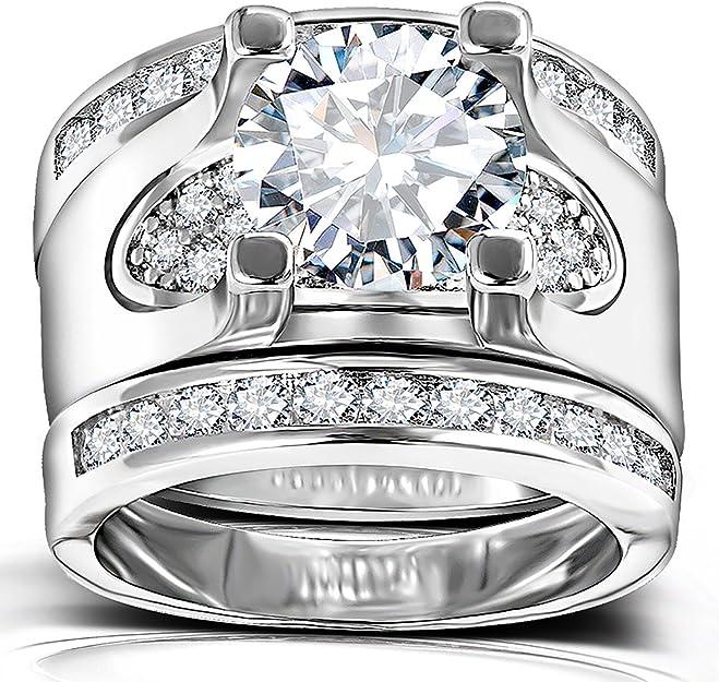 5.56 Ct Cubic Zirconia Silver Color Promise Engagement Wedding Rings Set for Women 3 PCS Round Cut CZ Bridal Sets