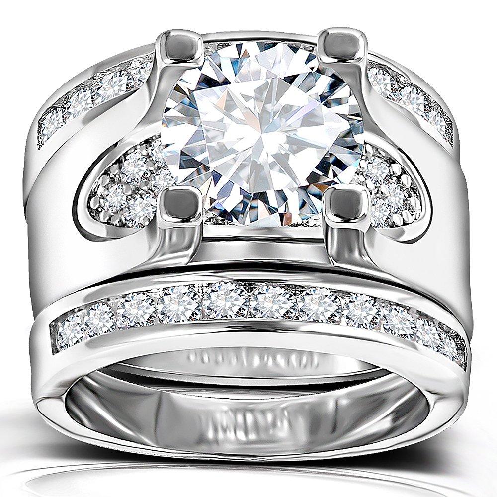 Cz Wedding Sets.Amazon Com 3 Pcs Round Cut Cz Bridal Sets 5 56 Ct Cubic Zirconia