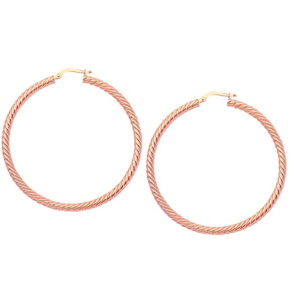 14k Rose Gold Twisted Hoop Earrings, Diameter 50 mm