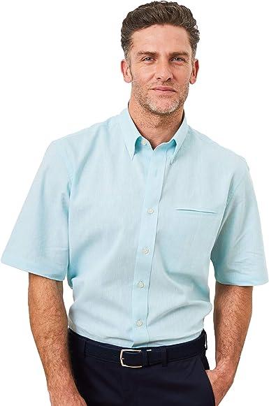 Savile Row Camisa de manga corta de lino para hombre – Camisa de verano con cuello abotonado clásico: Amazon.es: Ropa y accesorios