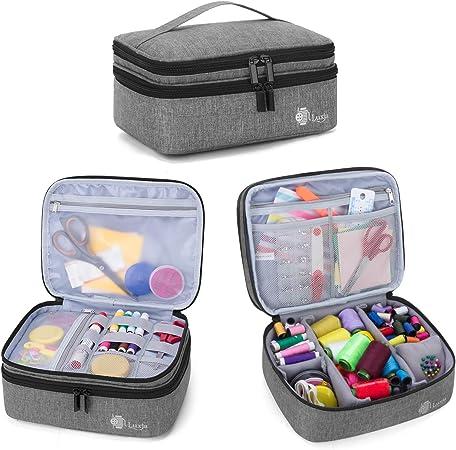 Luxja Bolsa para Kit de Costura, Doble Capa Organizador de Accesorios de Costura, Bolsa para Agujas, Hilo, Tijeras y Otras Materiales de Costura, Gris: Amazon.es: Hogar