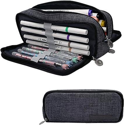 Cindeyar - Estuche de lápices de gran capacidad, 3 compartimentos, estuches para estudiantes, para lápices, para niños, niñas y adolescentes, color Gris oscuro-01: Amazon.es: Oficina y papelería