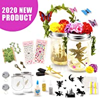 Seckton Fairy Lantern Craft Kit for Kids, Starry Fairy String Lights Art Crafts, First DIY Mason Jar Set for Little Princess to Build Their Own Fairy Garden, Best Birthday Gift for Girls Ages 4-12