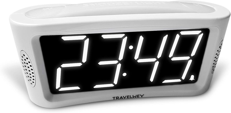 Travelwey LED Digital Alarm Clock Full Range Brightness Dimmer 12//24 Hour Format No Frills Simple Operation Outlet Powered Alarm Large Night Light Big White Digit Display Snooze