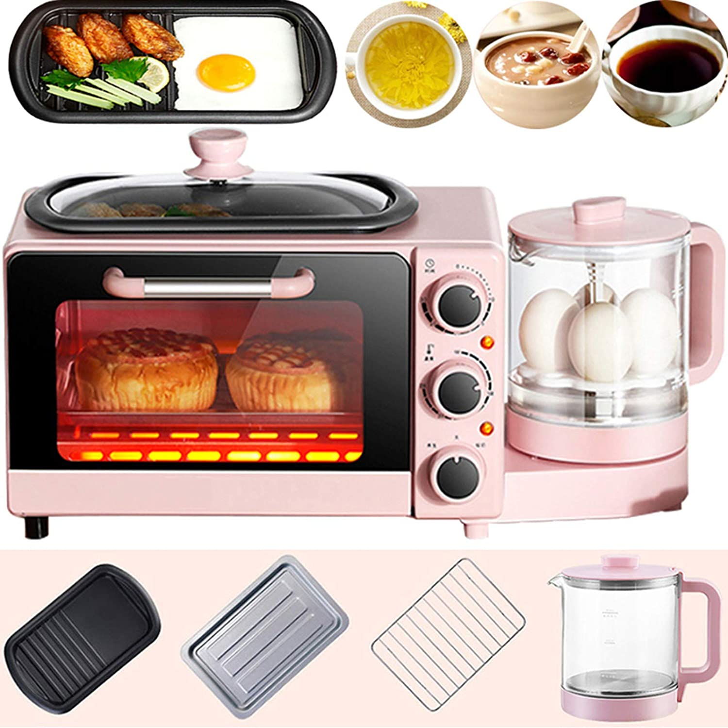 4 in 1 Home Small Breakfast Machine, Multifunction Vintage Countertop Toaster Oven, Electric Smart Microwave Oven with Frying Pan, Health Pot, Sandwich, Toast,Pink