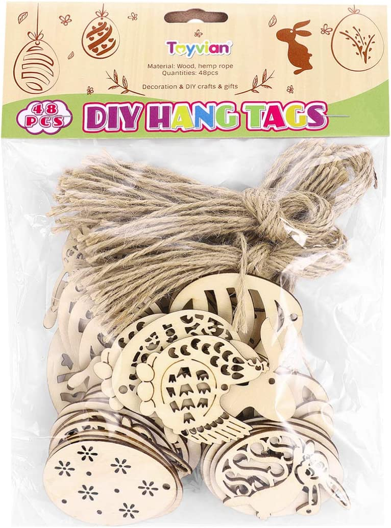 Toyvian 48 Pieces Easter Crafts Wooden Ornaments Unfinished Crafts Hanging Embellishments Crafts for Kids Easter Party Supplies DIY Decor